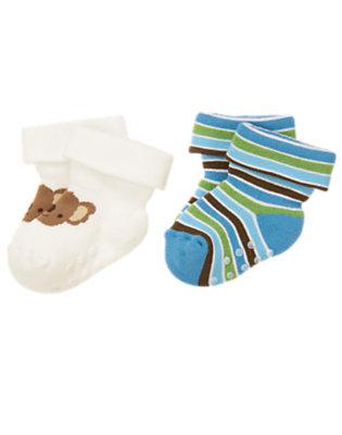 Baby Blue Stripe/Ivory Koala Stripe Sock Two-Pack by Gymboree