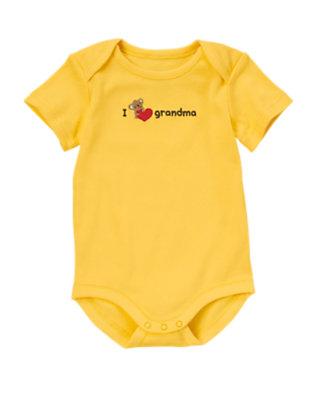 Baby Bright Yellow I Heart Grandma Bodysuit by Gymboree
