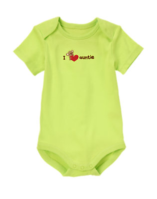 Baby Neon Green I Heart Auntie Bodysuit by Gymboree