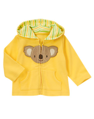 Baby Bright Yellow Koala Face Hooded Cardigan by Gymboree