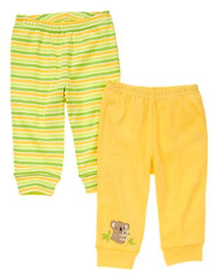 Baby Bright Yellow Stripe Koala Knit Pant Two-Pack by Gymboree