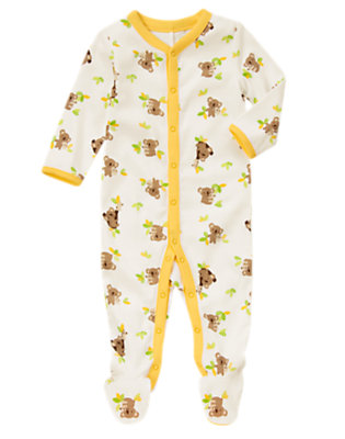 Baby Koala Yellow Koala Leaf Footed One-Piece by Gymboree