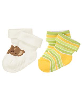 Baby Bright Yellow Stripe/Ivory Koala Stripe Sock Two-Pack by Gymboree