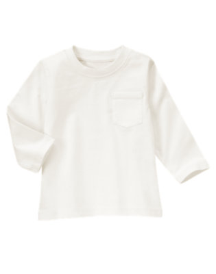 White Always Soft Pocket Tee by Gymboree