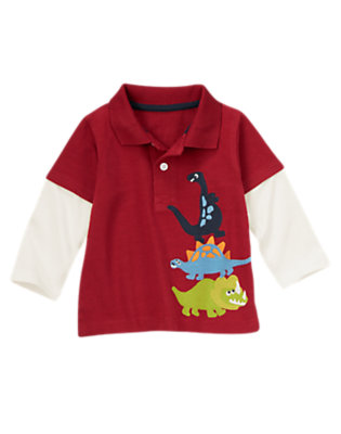 Toddler Boys Burgundy Dinosaurs Polo Shirt by Gymboree