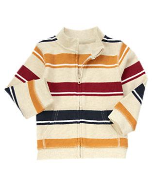 Oatmeal Khaki Stripe Stripe Zip Cardigan by Gymboree