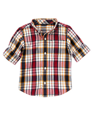 Burgundy Plaid Plaid Roll Cuff Shirt by Gymboree