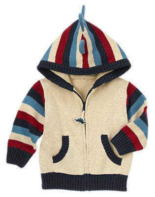 Toddler Boys Oatmeal Khaki Stripe Sweater Zip Hoodie by Gymboree