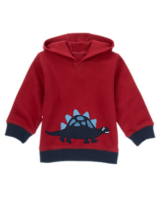 Toddler Boys Burgundy Dinosaur Hoodie by Gymboree