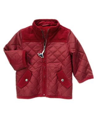 Toddler Boys Burgundy Quilted Jacket by Gymboree