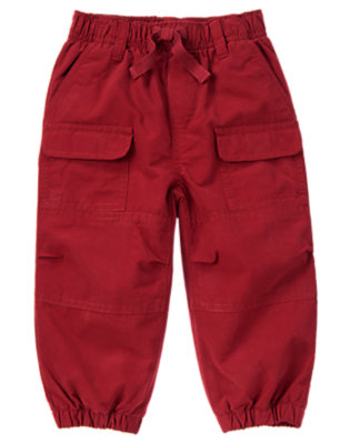 Burgundy Jersey Lined Cargo Active Pant by Gymboree