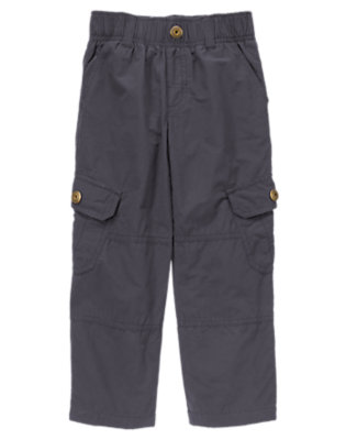 Boys Stormy Grey Jersey Lined Cargo Active Pant by Gymboree