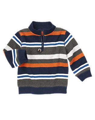 Orange Pennant Stripe Zip Stripe Pullover by Gymboree