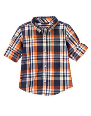Orange Pennant Plaid Plaid Shirt by Gymboree