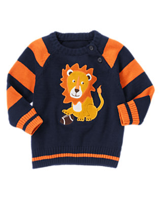 Football Navy Football Lion Sweater by Gymboree