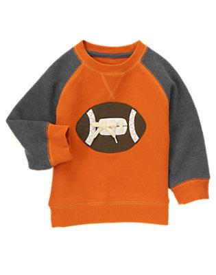 Orange Pennant Football Fleece Sweatshirt by Gymboree