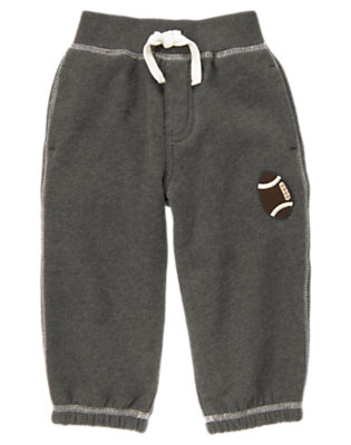 Dark Grey Heather Embroidered Football Fleece Active Pant by Gymboree