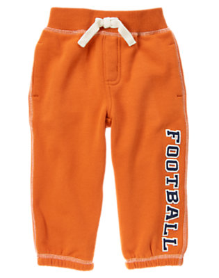 Orange Pennant Football Fleece Active Pant by Gymboree