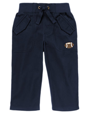 Gym Navy Football Pull-On Twill Pant by Gymboree