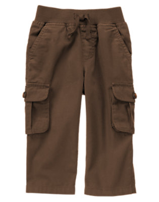 Toddler Boys Brown Pull-On Canvas Cargo Pant by Gymboree