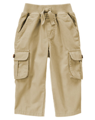 Toddler Boys Khaki Pull-On Canvas Cargo Pant by Gymboree