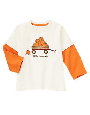 Ivory Little Pumpkin Double Sleeve Tee by Gymboree