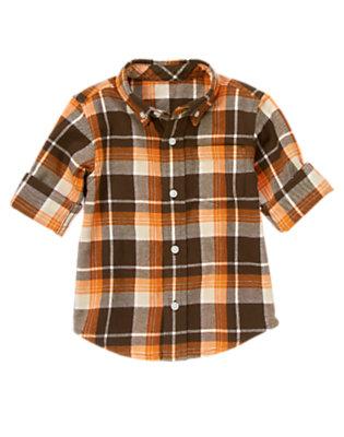 Pumpkin Orange Plaid Plaid Flannel Shirt by Gymboree