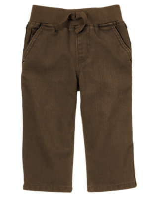 Chocolate Brown Pull-On Brown Jean by Gymboree