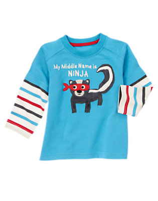Mystic Blue Middle Name Is Ninja Double Sleeve Tee by Gymboree