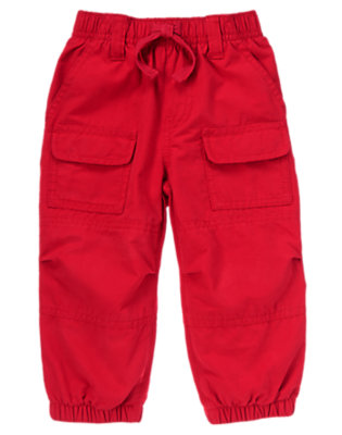 Toddler Boys Ninja Red Jersey Lined Cargo Active Pant by Gymboree