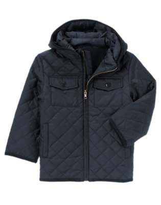 Boys Gym Navy Uniform Quilted Jacket by Gymboree