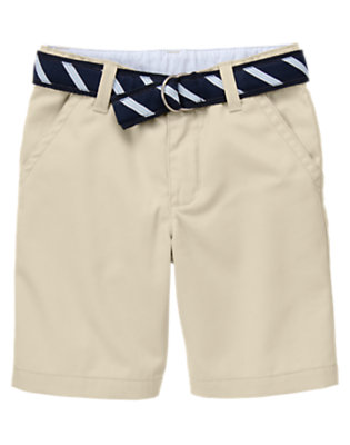 Boys Light Khaki Uniform Stripe Belted Short by Gymboree
