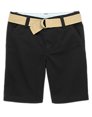 Boys Black Uniform Belted Short by Gymboree