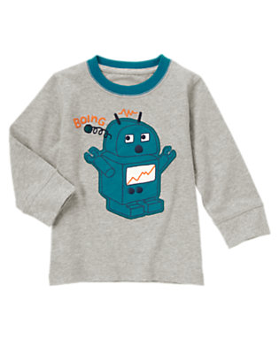 Toddler Boys Steel Heather Grey Boing Robot Tee by Gymboree