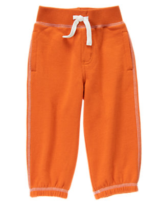 Toddler Boys Dark Orange Fleece Knit Pant by Gymboree