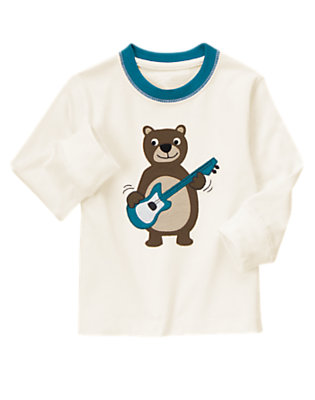 Toddler Boys White Guitar Bear Tee by Gymboree