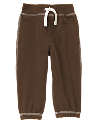 Toddler Boys Brown Fleece Knit Pant by Gymboree