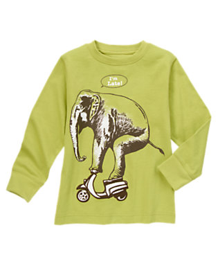 Boys Light Olive Green Elephant On Scooter Tee by Gymboree