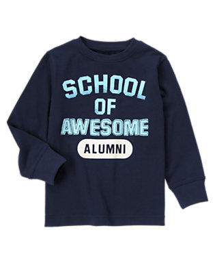 Boys Gym Navy School Of Awesome Tee by Gymboree
