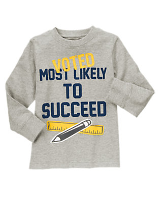 Boys Heather Grey Most Likely To Succeed Tee by Gymboree