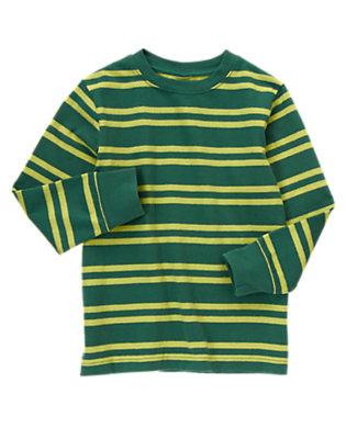 Boys Pine Green Stripe Stripe Tee by Gymboree
