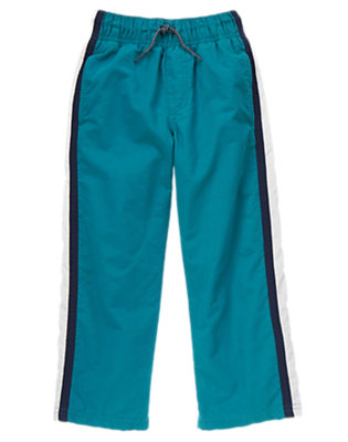 Boys Deep Blue Athletic Stripe Jersey Lined Pant by Gymboree