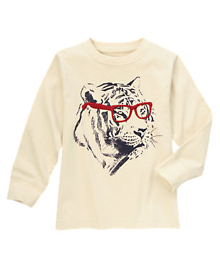 Boys Beige Tiger Glasses Tee by Gymboree