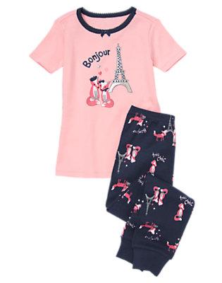 Girls Parisian Pink Parisian Foxes Two-Piece Gymmies® by Gymboree