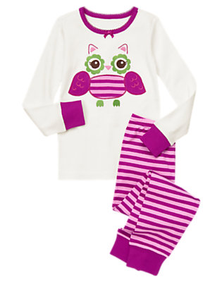 Girls Purple Stripe Stripe Owl Two-Piece Gymmies® by Gymboree