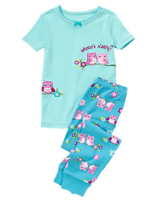 Girls Twilight Blue Sleepy Owl Two-Piece Gymmies® by Gymboree