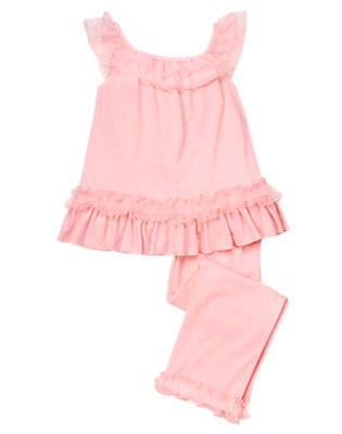 Girls Parisian Pink Chiffon Ruffle Two-Piece Pajama Set by Gymboree