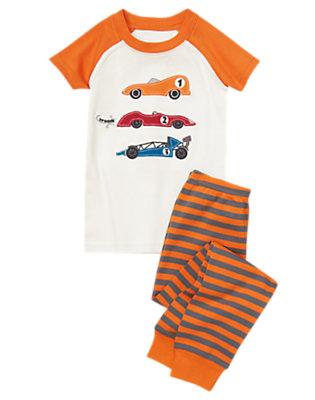 Racer Orange Stripe Race Car Short Sleeve Two-Piece Gymmies® by Gymboree
