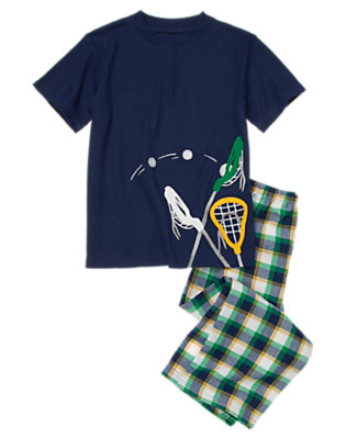 Midnight Blue Lacrosse Short Sleeve Two-Piece Pajama Set by Gymboree