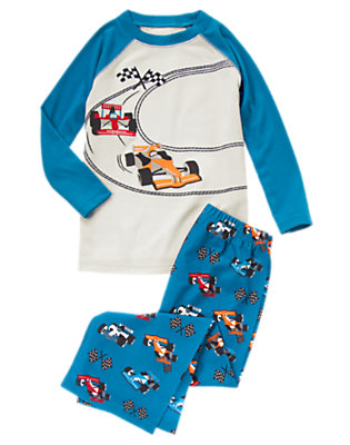 Toddler Boys Racetrack Blue Race Car Two-Piece Pajama Set by Gymboree